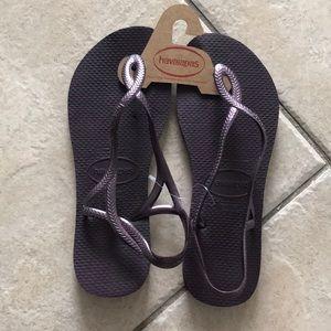 Purple Havaianas Sandals Size 7 New